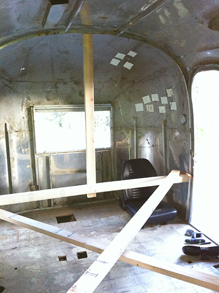 We took everything out of Madison's interior and added a temporary internal frame to support the aluminum shell.